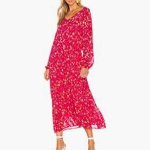 FREE PEOPLE Wallflower Midi Dress Sheer Long Sleev